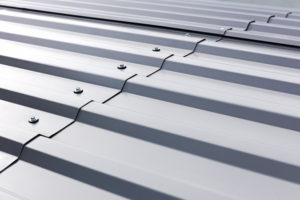 Corrugated Metal Panel in Gray Coating.