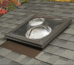 Skylight types styles and options affordable roofing by for Sun tunnel basement